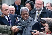UN Secretary General Kofi Annan speaks to reporters at the White House March 11, 1998 in Washington, DC.