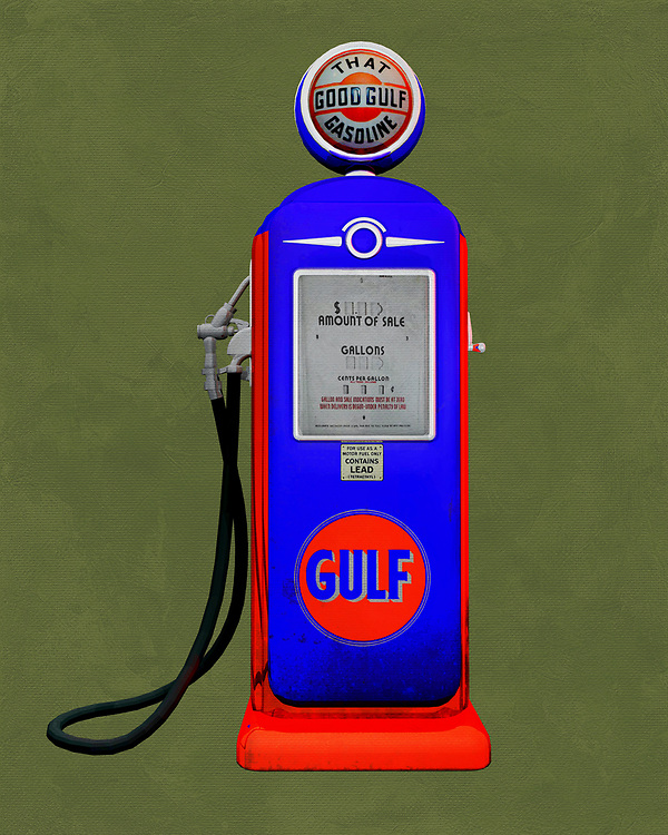 An isolated Gulf gas station pump. The level of detail in this piece is simply astonishing, particularly in terms of the Shell Gasoline pump.<br /> This is an excellent piece for anyone who appreciates unique pop art. The piece can be installed virtually anywhere you please. . <br /> -<br /> BUY THIS PRINT AT<br /> <br /> FINE ART AMERICA<br /> ENGLISH<br /> https://janke.pixels.com/featured/gulf-gas-jan-keteleer.html