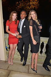 Left to right, LADY TATIANA MOUNTBATTEN, ROUBI L'ROUBI and SABRINA PERCY at an evenig of Jewellery & Photography to launch the Buccellati 'Opera Collection' held at Spencer House, London on 21st October 2015.