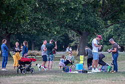 """© Licensed to London News Pictures. 12/09/2020. Surrey, UK. Families picnicking enjoy the glorious sunshine in Richmond Park in South West London this afternoon before the """"Rule of 6"""" comes into force on Monday as weather experts announce a 6 day mini heatwave in the South East of England this week with highs in excess of 29c. Prime Minister Boris Johnson is already under pressure after he announced on Friday that gatherings of more than six people will be banned from Monday in the hope of reducing the coronavirus R number. The Rule of Six as it is known, has already become unpopular with MPs and large families. Photo credit: Alex Lentati/LNP"""