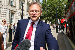 © Licensed to London News Pictures. 06/08/2019. London, UK. Secretary of State for Transport GRANT SHAPPS leaves Cabinet Office in Whitehall. Photo credit: Dinendra Haria/LNP