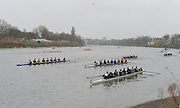 Putney. London, General View of crews racing and marshalling,  2015  Head of the River Race. Championship Course Putney to Mortlake.  ENGLAND. <br /> <br /> Sunday   29/03/2015<br /> <br /> [Mandatory Credit; Intersport-images]