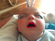 "Mum Tries out Makeup App on her 7 week old son with very funny results <br /> <br /> You probably shouldn't put make-up on a baby, but let's face it – given the opportunity, we'd all be curious to see what a baby would look like with heavy makeup. Using a makeup app, one mum did just that. These photos of her 7-week-old baby covered in make-believe makeup and wigs are both disturbing and hilarious.<br /> <br /> Putting real makeup on a baby is a no-no - so it's only thanks to the wonders of modern technology that we can see what a newborn looks like in full lippy, eye makeup and blusher.<br /> <br /> A new mum used the YouCam Makeup - Makeover Studio app on her phone to give her 7-week-old son a variety of dramatic virtual makeovers.<br /> <br /> She said: ""I intentionally take/use photos of him pulling faces and gurning because I live to amuse myself.""<br /> ©Exclusivepix Media"