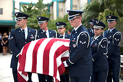MacDill Air Force Base Honor Guard carries the casket of Col. Peter Stewart, an F-4C Phantom II aircraft pilot during the Vietnam War, during a military honors service at St. Matthew's Catholic Church in Winter Haven, Fla., June 18, 2018. (U.S. Air Force photo by Airman 1st Class Ashley Perdue)