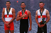 Atlanta; USA; CAN M1X Derek Porter left - Middle SUI M1X  Xeno Muller and Thomas Lange GER M1X awards dock.; after  the final at the Olympic Rowing Regatta at Lake Lanier; Gainsville Georgia; Photo Peter Spurrier/Intersport Images