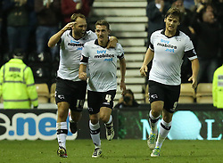 Derby County's John Eustace celebrates with goalscorer Derby County's Craig Bryson- Photo mandatory by-line: Matt Bunn/JMP - Tel: Mobile: 07966 386802 01/10/2013 - SPORT - FOOTBALL - Pride Park - Derby - Derby County V Ipswich Town