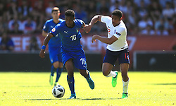 England U17's Vontae Daley-Campbell (right) and Italy U17's Jean Freddi Pascal Greco battle for the ball during the UEFA European U17 Championship, Group A match at Banks's Stadium, Walsall.