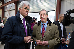 © Licensed to London News Pictures . 23/03/2015 . Middleton , UK . UKIP candidate for Heywood and Middleton , John Bickley , with Nigel Farage . UKIP leader Nigel Farage , Deputy Leader Paul Nuttall and Economics Spokesman Patrick O'Flynn announce UKIP's economic policy at Concept Metal Products and Co Ltd in Middleton , Lancashire . Photo credit : Joel Goodman/LNP