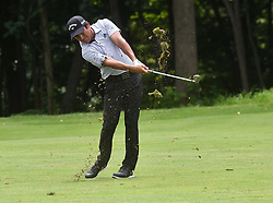 July 15, 2018 - Silvis, Illinois, U.S. - SILVIS, IL - JULY 15:  Andres Romero hits his second shot on the #6 hole during the final round of the John Deere Classic on July 15, 2018, at TPC Deere Run, Silvis, IL.  (Photo by Keith Gillett/Icon Sportswire) (Credit Image: © Keith Gillett/Icon SMI via ZUMA Press)