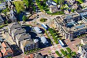 Nederland, Utrecht, Woudenberg, 29-05-2019; dorpskern met twee vrachtauto's in dorpsstraat.<br /> Village center with village street.<br /> luchtfoto (toeslag op standard tarieven);<br /> aerial photo (additional fee required);<br /> copyright foto/photo Siebe Swart