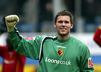 Photo: Chris Ratcliffe.<br />Luton Town v Watford. Coca Cola Championship.<br />02/01/2006.<br />Ben Foster, the Watford keeper celebrates the win.