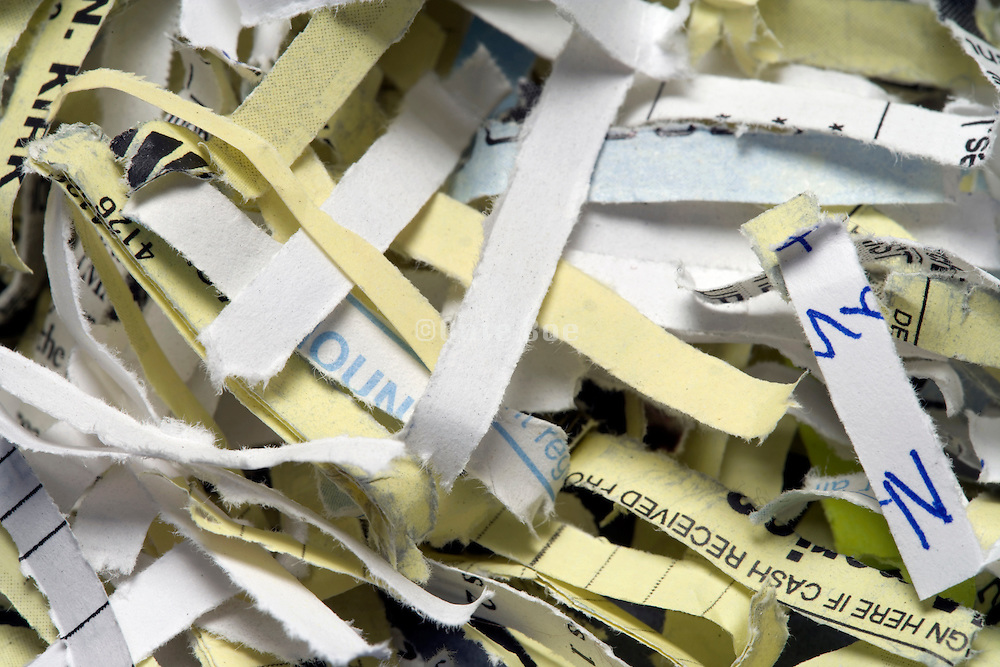 extreme close up of bank paper shreds