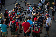 Coaches wait on a decision on whether there was going to be any racing on the day. Racing was cancelled due to heavy winds and unsafe racing conditions at the 2018 UCI BMX World Championships in Baku, Azerbaijan.