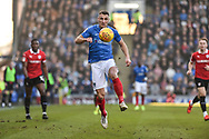 Portsmouth Defender, Lee Brown (3) controls the ball during the EFL Sky Bet League 1 match between Portsmouth and Barnsley at Fratton Park, Portsmouth, England on 23 February 2019.