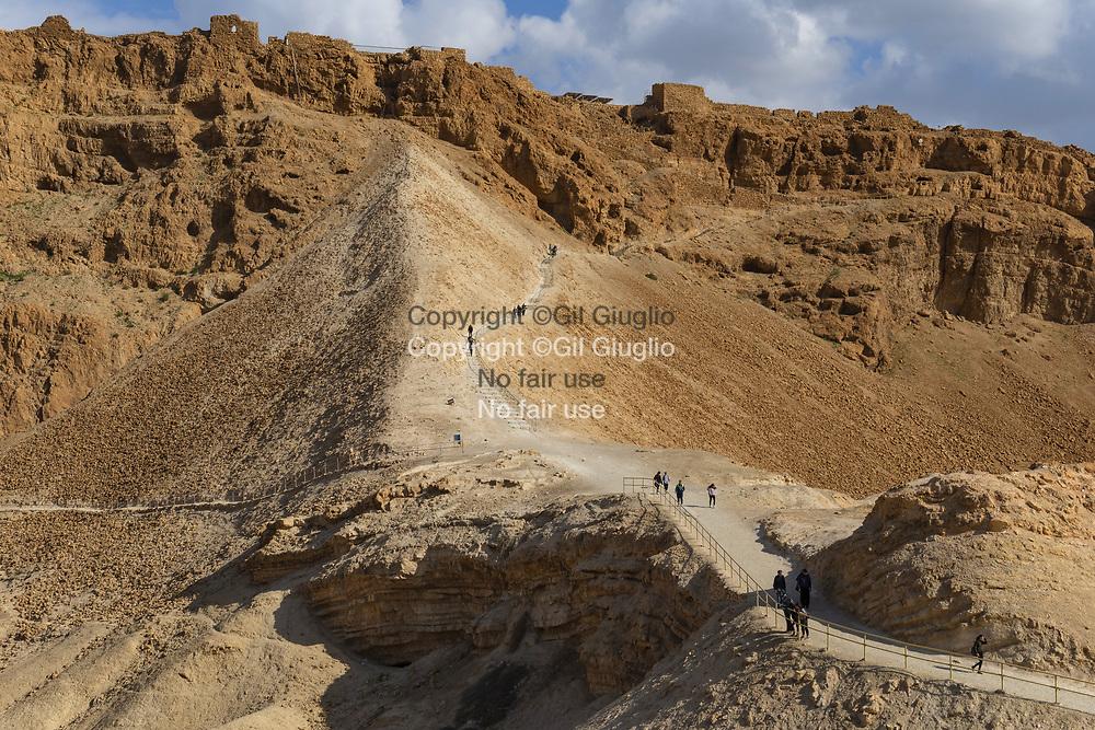Israel, South District, Masada area and citadel at the World Heritage of Unesco, trail called the Masada Snake Path // Israël, District Sud, region et forteresse de Massada inscrit au Patrimoins mondial de l'Humanité par l'Unesco, chemin d'accés appelé le Masada Snake Path