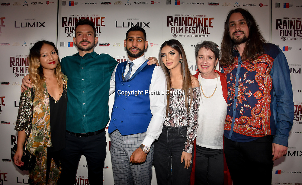 Oliver Clark (2L), Amir Khan and Faryal Makhdoom ,Blair MacDonald (R) with guests attend World Premiere of Team Khan - Raindance Film Festival 2018 at Vue Cinemas - Piccadilly, London, UK. 29 September 2018.