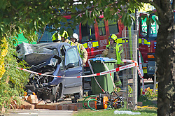©Licensed to London News Pictures 14/09/2020  <br /> Kidbrooke, UK.  Damaged cars. A bin lorry has crashed into multiple cars and a house in Kidbrooke, South East London. A number of people have been injured police, fire and ambulance are all on scene. credit:Grant Falvey/LNP