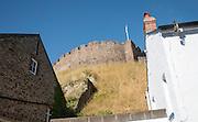 Castle walls and historic houses Totnes, Devon, England, UK