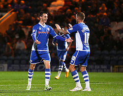 Scott Tanser of Rochdale celebrates after scoring the opening goal  - Mandatory byline: Matt McNulty/JMP - 07966 386802 - 06/10/2015 - FOOTBALL - Spotland Stadium - Rochdale, England - Rochdale v Chesterfield - Johnstones Paint Trophy