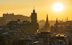 Edinburgh, Scotland, UK. 26 February, 2019. View at sunset over famous Edinburgh skyline from Calton Hill in Edinburgh after a warm clear day with temperatures reaching 13C.