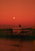 Barnes, London, 1986 Fours Head of the river race, crews returning, in the moonlite Red Sky, after the race, GV's from Barnes Rail Bridge. Head of the River  Fours. Championship Course. [Mandatory Credit: Peter Spurrier/Intersport Images] 15.11.1986