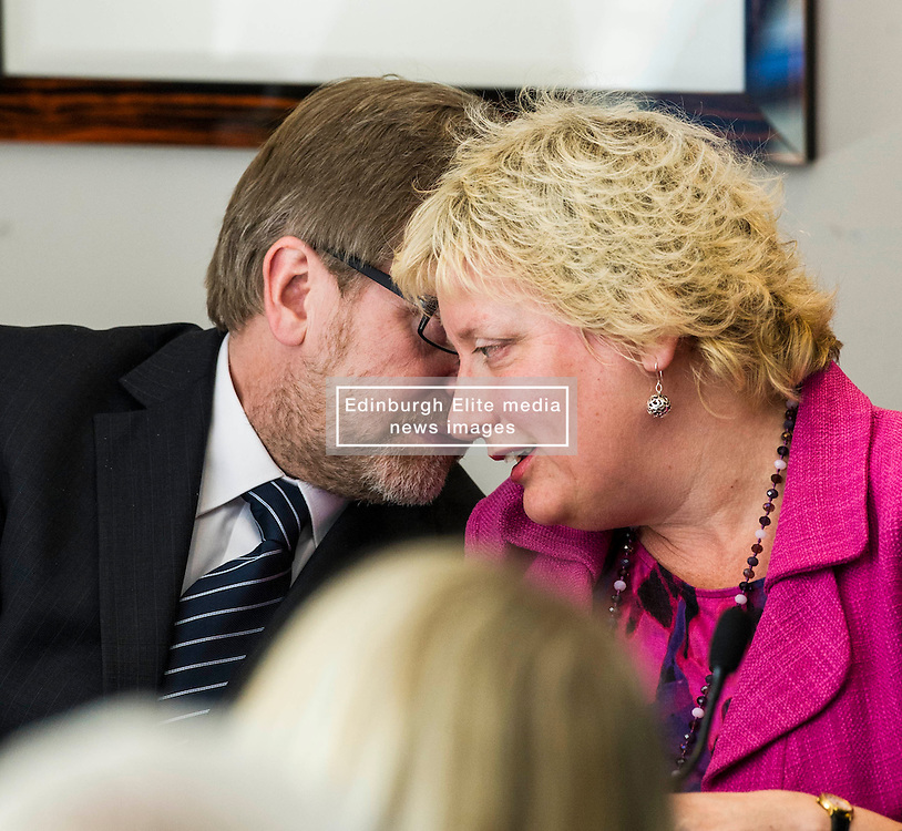 Pictured: Dr Donald MacAskill asked Katy Gordon for her note for arriving late.<br /> <br /> SNP Health Secretary Shona Robison, Labour's Richard Simpson, Ian McGill of the Tories, Lib Dem Katy Gordon and Pat Black of the Greens will debate social care issues. The event has been organised by care sector leaders who have drawn up a manifesto outlining the needs of the nation's ageing population in advance of the Scottish Parliament elections<br /> <br /> Ger Harley | EEm 18 April 2016