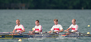 Tampere Kaukajaervi,  FINLAND.  Men's Lightweight Four,  GER LM4-. Michael BUCHHEIT, Oliver RAU , Bernhard STOMPOROWSKI , Martin WEISS, competing at the 1995 World Rowing Championships - Lake Tampere, 08.1995<br /> <br /> [Mandatory Credit; Peter Spurrier/Intersport-images] Re-Edited and file ref No. updated, 16th January 2021.