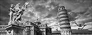 Sacred Stone - Black and white photo art print of the iconic  leaning tower of Pisa, Italy  by Paul Williams.