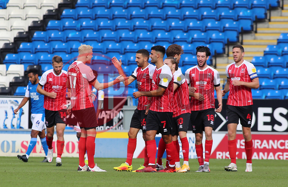 Liam Sercombe of Cheltenham Town (middle) celebrates scoring his goal - Mandatory by-line: Joe Dent/JMP - 05/09/2020 - FOOTBALL - Weston Homes Stadium - Peterborough, England - Peterborough United v Cheltenham Town - Carabao Cup