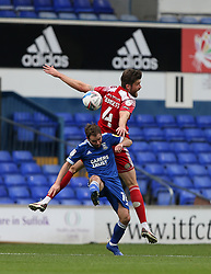 Cameron Burgess of Accrington Stanley and Alan Judge of Ipswich Town tussle for the ball - Mandatory by-line: Arron Gent/JMP - 16/10/2020 - FOOTBALL - Portman Road - Ipswich, England - Ipswich Town v Accrington Stanley - Sky Bet League One