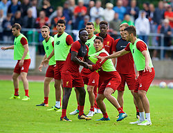 ROTTACH-EGERN, GERMANY - Friday, July 28, 2017: Liverpool's Sadio Mane and Roberto Firmino during a training session at FC Rottach-Egern on day three of the preseason training camp in Germany. (Pic by David Rawcliffe/Propaganda)