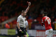 Referee Trevor Kettle gives a red card and sends off  Tareiq Holmes-Dennis of Charlton Athletic after he had fouled Ben Osborn of Nottingham Forest . Skybet football league championship match, Charlton Athletic v Nottingham Forest at The Valley  in London on Saturday 2nd January 2016.<br /> pic by John Patrick Fletcher, Andrew Orchard sports photography.
