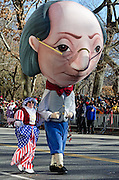 A Benjamin Franklin balloon-head costume in the Macy's Thanksgiving Day parade.