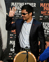 April 29.2015. Las Vegas NV. Manny Pacquiao  talks at the final press conference on his upcoming fight with Floyd Mayweather Jr. at the MGM grand hotel Wednesday. The two will be fighting this Saturday May 2nd at the MGM grand hotel in Las Vegas. Photo by Gene Blevins/LA DailyNews