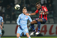 FOOTBALL - FRENCH CHAMPIONSHIP 2011/2012 - CLERMONT FA v STADE DE REIMS  - 28/11/2011 - PHOTO EDDY LEMAISTRE / DPPI - YACOUBA SYLLA  (CLERMONT) AND LUCAS DEAUX  (REIMS)