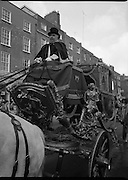 St Patrick's Day Parade.1982.17/03/1982.03.17.1982.17th March 1982..Image of the coach proudly driven by Mr Joe Mc Grath, who also supplied the four grey horses to draw the coach.