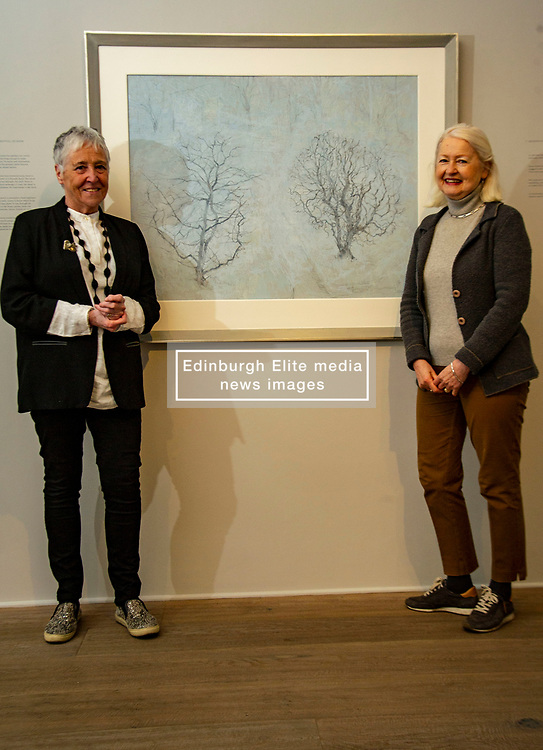 Pictured: Victoria Crowe OBE and Christine De Luca in front of Garden Full of Snow<br /><br />Another Time, Another Place at The Scottish Gallery - an exhibition of works by renowned artist Victoria Crowe OBE which have inspired 12 poems by poet Christine De Luca<br /><br />Ger Harley | EEm 29 April 2021