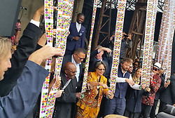 """Jochen Zeitz (hand up), Archbishop Emeritus Desmond Tutu, Alderman Patricia De Lille, Architect Thomas Heatherwick (beard), Albie Sachs (hat) at the grand opening of the The Zeitz Museum of Contemporary Art Africa's (Zeitz MOCAA). This is now the biggest gallery in Africa (and possibly southern hemisphere). In his speech the Chairman of the V&A Waterfront Elias Masilela described the Zeitz MOCAA as """"the 8th Wonder of the World""""."""