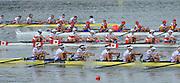 Chungju, South Korea.  Final Women's Eights W8+2013 FISA World Rowing Championships, Tangeum Lake International Regatta Course.15:54:13  Sunday  01/09/2013 [Mandatory Credit. Peter Spurrier/Intersport Images]<br /> <br /> 1USA w8+. Amanda POLK (b) , Kerry SIMMONDS (2) , Emily REGAN (3) , Lauren SCHMETTERLING (4) , Grace LUCZAK (5) , Meghan MUSNICKI (6) , Victoria OPITZ (7) , Caroline LIND (s) , Katelin SNYDER.<br /> <br /> 2ROU W8+ Cristina ILIE (b) , Ionelia ZAHARIA (2) , Cristina GRIGORAS (3) , Ioana CRACIUN (4) , Camelia LUPASCU (5) , Andreea BOGHIAN (6) , Roxana COGIANU (7) , Nicoleta ALBU (s) , Daniela DRUNCEA (<br /> 3CAN W8+. Lisa ROMAN (b) , Jennifer MARTINS (2) , Carolyn GANES (3) , Susanne GRAINGER (4) , Sarah BLACK (5) , Christine ROPER (6) , Natalie MASTRACCI (7) , Cristy NURSE (s) , Kristen KIT<br /> 4GBR W8+ Melanie WILSON (b) , Caragh MCMURTRY (2) , Louisa REEVE (3) , Beth RODFORD (4) , Jessica EDDIE (5) , Zoe LEE (6) , Katie GREVES (7) , Olivia CARNEGIE-BROWN (s) , Zoe DE TOLEDO <br /> <br /> 5AUSW8+ Hannah VERMEERSCH (b) , Renee CHATTERTON (2) , Peta WHITE (3) , Katrina BATEMAN (4) , Tess GERRAND (5) , Alexandra HAGAN (6) , Charlotte SUTHERLAND (7) , Lucy STEPHAN (s) , Elizabeth PATRICK. <br /> 6NEDW8+ Marleen VERBURGH (b) , Kyra DE VRIES (2) , Aletta JORRITSMA (3) , Janneke VAN DER MEULEN (4) , Kirsten WIELAARD (5) , Dominique Van der PAUW (6) , Rosa BAS (7) , Heleen BOERS (s) , Jonna DE VRIES (c)