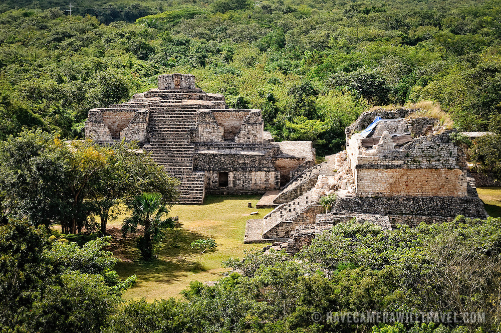 Some of the ancient Mayan ruins of Ek' Balam as seen from the top of the Acropolis. At left is the Oval Palace and at right are the Twin Pyramids.