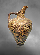 """Minoan  ewer with dense reeds design, by the """"Reed Painter"""" , Phaistos Palace 1500-1450 BC; Heraklion Archaeological  Museum, grey background. .<br /> <br /> If you prefer to buy from our ALAMY PHOTO LIBRARY  Collection visit : https://www.alamy.com/portfolio/paul-williams-funkystock/minoan-art-artefacts.html . Type -   Heraklion   - into the LOWER SEARCH WITHIN GALLERY box. Refine search by adding background colour, place, museum etc<br /> <br /> Visit our MINOAN ART PHOTO COLLECTIONS for more photos to download  as wall art prints https://funkystock.photoshelter.com/gallery-collection/Ancient-Minoans-Art-Artefacts-Antiquities-Historic-Places-Pictures-Images-of/C0000ricT2SU_M9w"""