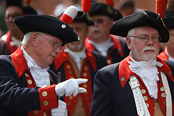 July 4, 2018 - Philadelphia, PA, USA - Members of the Mattatuck Drum Band, founded in 1767, prepare to open the Celebration of Freedom ceremony, held annually at Independence Hall, where the Declaration of Independence was signed in the summer of 1776. (Credit Image: © Michael Candelori via ZUMA Wire)