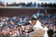 San Francisco Giants first baseman Ryder Jones (63) attempts to bunt against the Philadelphia Phillies at AT&T Park in San Francisco, California, on August 20, 2017. (Stan Olszewski/Special to S.F. Examiner)
