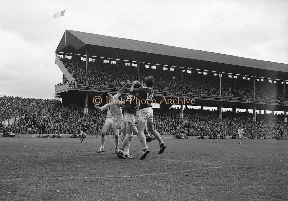 22/09/1968<br /> 09/22/1968<br /> 22 September 1968<br /> All Ireland Minor Football Final: Sligo v Cork at Croke Park Dublin. M. Doherty (no.14) Cork full forward gets the ball in a scuffle with J. Brennan (no.3) Sligo full back.
