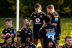 Zurabi Zhvania, Michael Le Bourgeois and Jack Owlett of Wasps - Mandatory by-line: Robbie Stephenson/JMP - 18/11/2019 - RUGBY - Broadstreet Rugby Football Club - Coventry , Warwickshire - Wasps Squad Photo