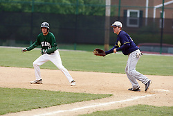 28 April 2012:   during an NCAA division 3 Baseball game between the Augustana Vikings and the Illinois Wesleyan Titans in Jack Horenberger Stadium, Bloomington IL