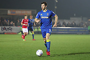 AFC Wimbledon defender Jon Meades (3) dribbling during the EFL Sky Bet League 1 match between AFC Wimbledon and Charlton Athletic at the Cherry Red Records Stadium, Kingston, England on 10 April 2018. Picture by Matthew Redman.