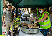 Volunteers prepare food for builders who are clearing the damage from the Beirut Port explosion, Lebanon. (VXP Pictures/ Matt Kynaston)