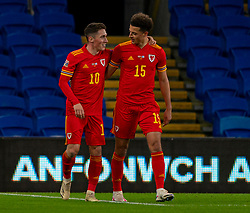 CARDIFF, WALES - Wednesday, November 18, 2020: Wales' Harry Wilson  (L) celebrates after scoring the first goal with team-mate Ethan Ampadu during the UEFA Nations League Group Stage League B Group 4 match between Wales and Finland at the Cardiff City Stadium. Wales won 3-1 and finished top of Group 4, winning promotion to League A. (Pic by David Rawcliffe/Propaganda)