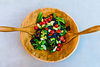 A fresh salad in summer with vegetables from the garden, Littleton, Colorado USA.